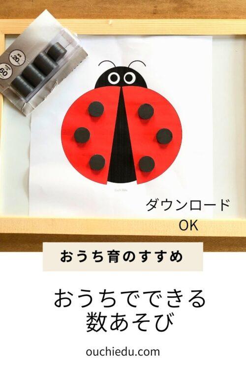 てんとう虫にマグネットを貼って数を学ぶ知育あそび