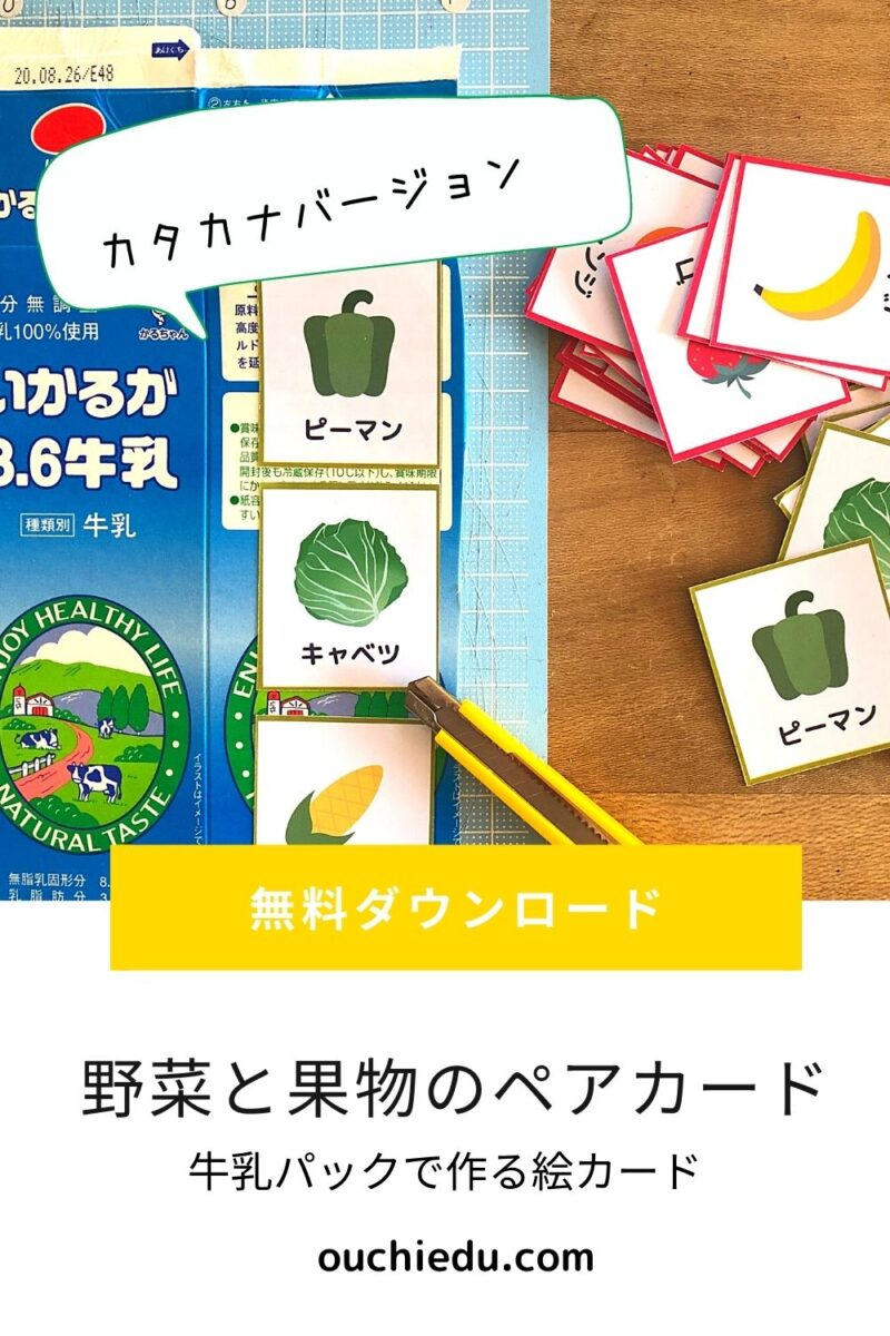 【幼児のための知育カード】野菜と果物のペアカードで分類とカタカナを学ぼう