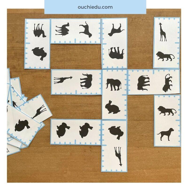 【無料ダウンロード】モノクロ動物ドミノカード シルエットを観察する知育遊びに!