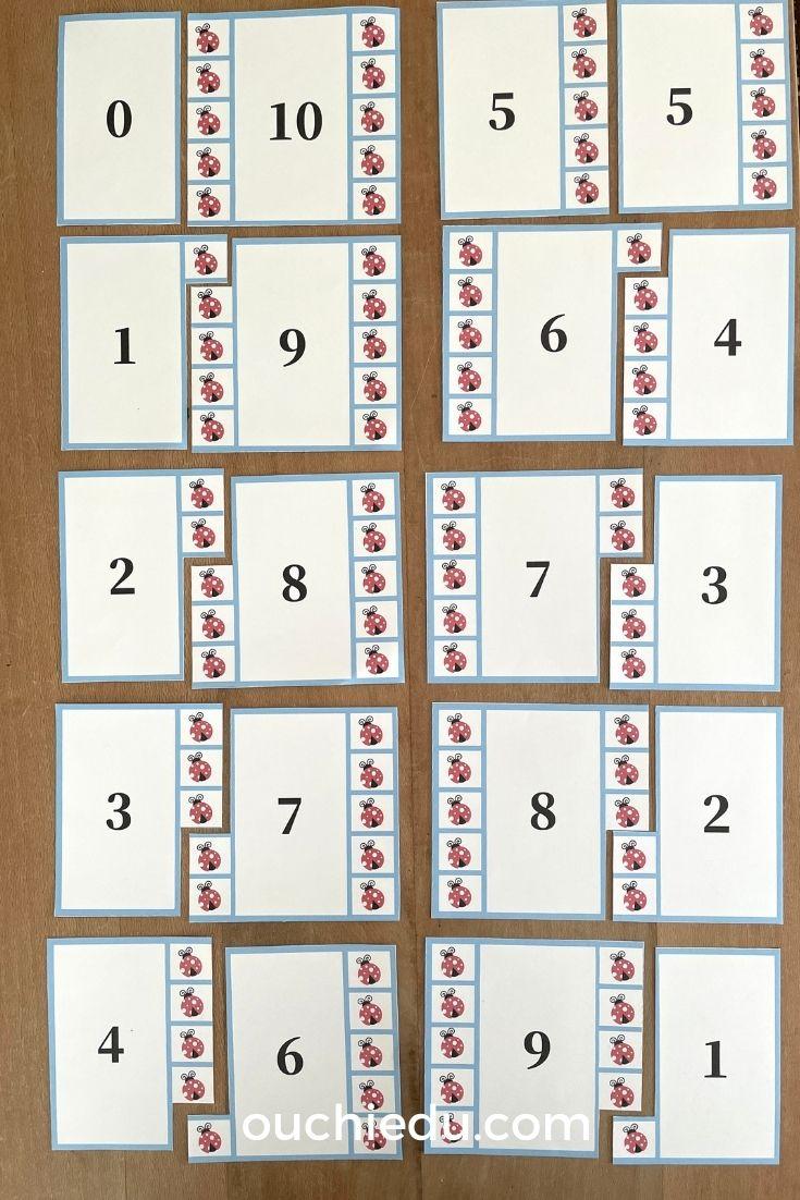 足し算を学べる10の数合わせカード