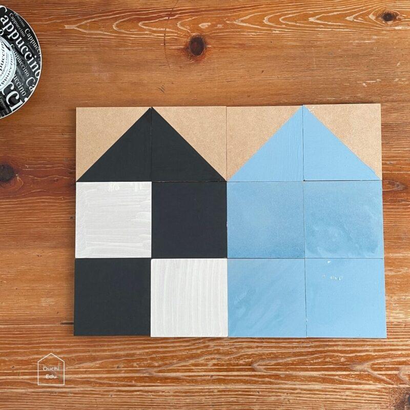 【DAISOリメイク】MDF材を水性塗料でセルフペイント!スモーキーな木製知育パズルができました